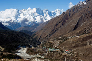 Trekking through the Khumbu Valley surrounded by giants
