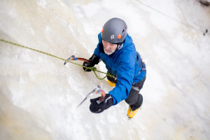 Keeping your hands warm while ice climbing takes some discipline.