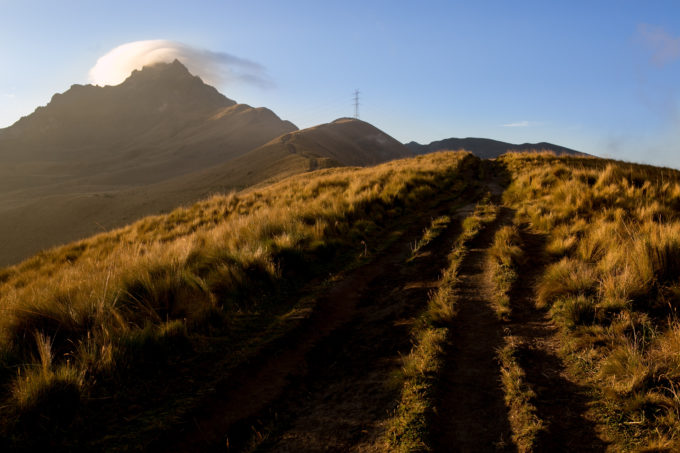 Rucu Pichincha (15,413ft). Our route the following day would follow the right skyline.