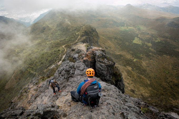 NEM Guide Josh Klockars gives Daniel some security on the exposed ridge of Rucu Pichincha