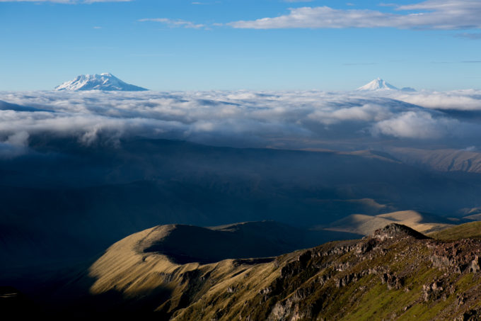 Sunrise on Ecuador's 4th and 2nd highest peaks. Antisana and the now active Cotopaxi loom large above the clouds