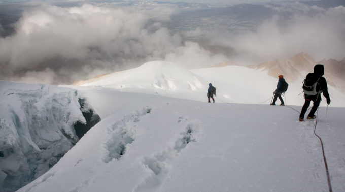 Descending around 18,000ft on Cayambe. We finally get to see the terrain we had just ascended