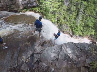 Rappelling Down Waterfalls in Crawford Notch
